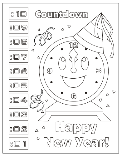 New Year Countdown Clock Coloring Page New Year Coloring Pages New Years Countdown New Years Activities