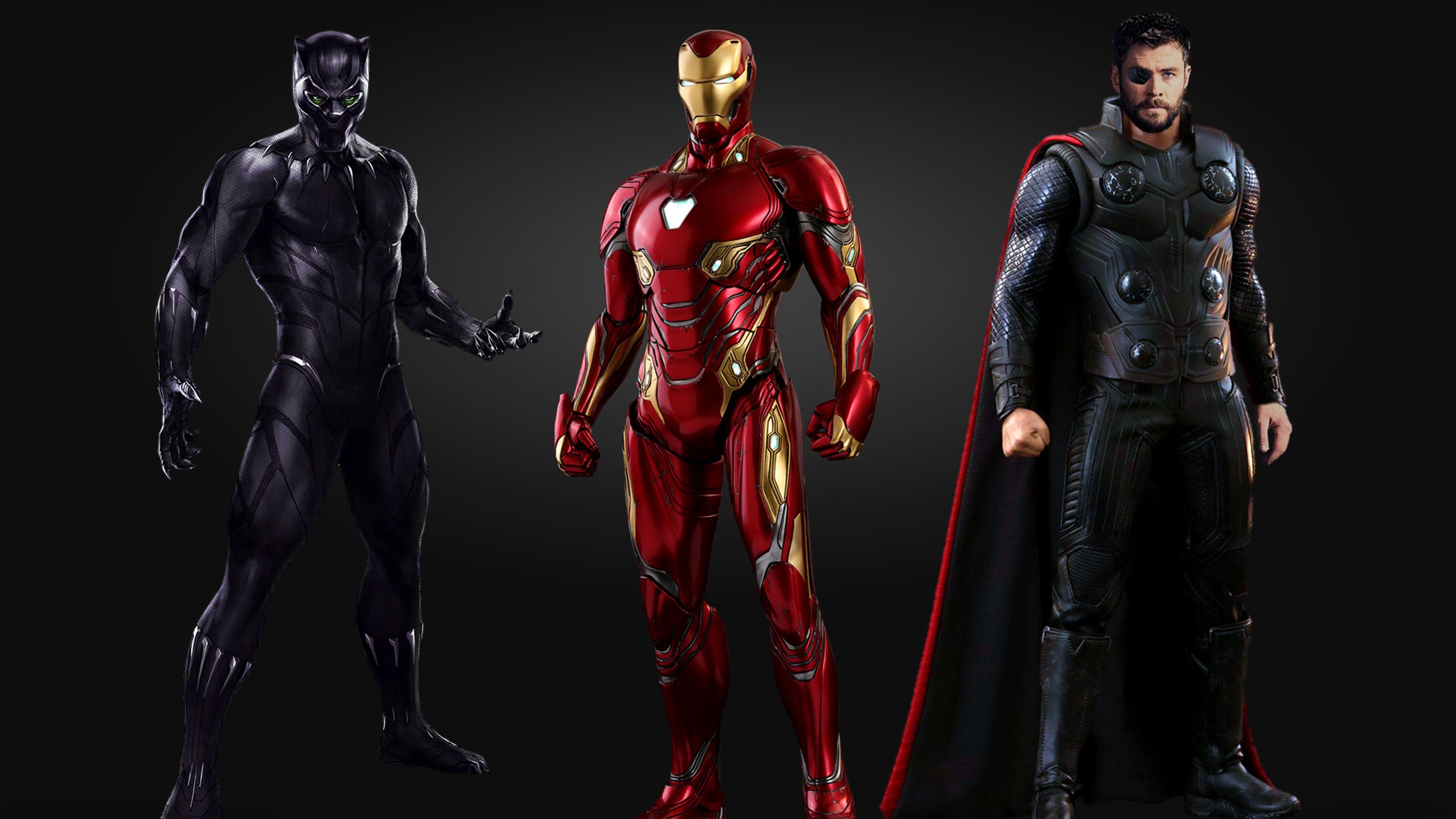 Black Panther Iron Man Thor 4k Thor Wallpapers Superheroes