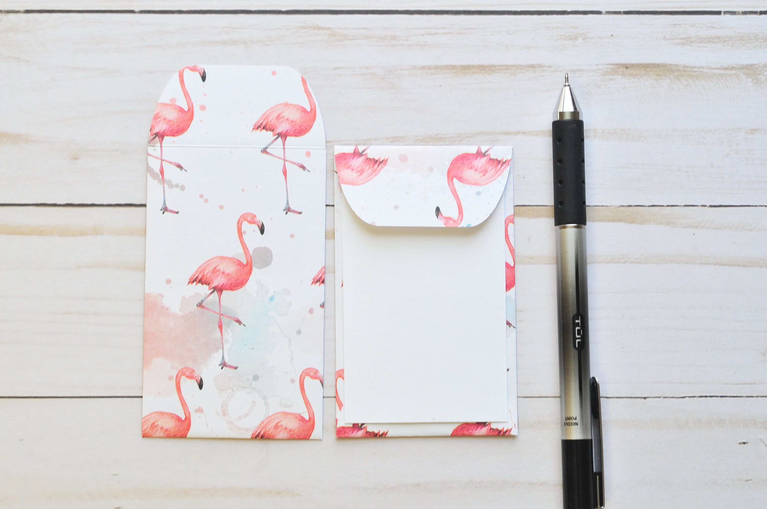 flamingo gift card holders  blank cards  mini cards