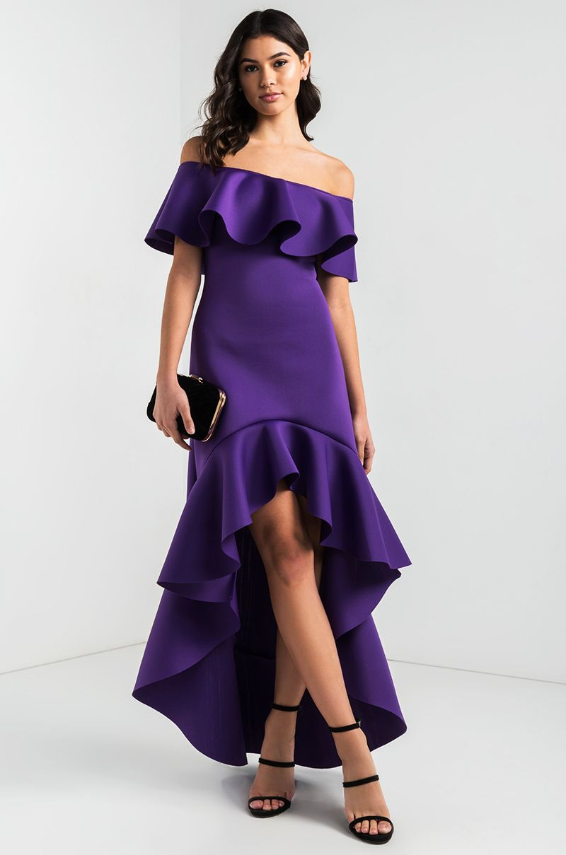 c0bccf51a3 AKIRA Off Shoulder Frill Collar Asymmetric Mini Maxi High Low Scuba  Neoprene Dress in Purple