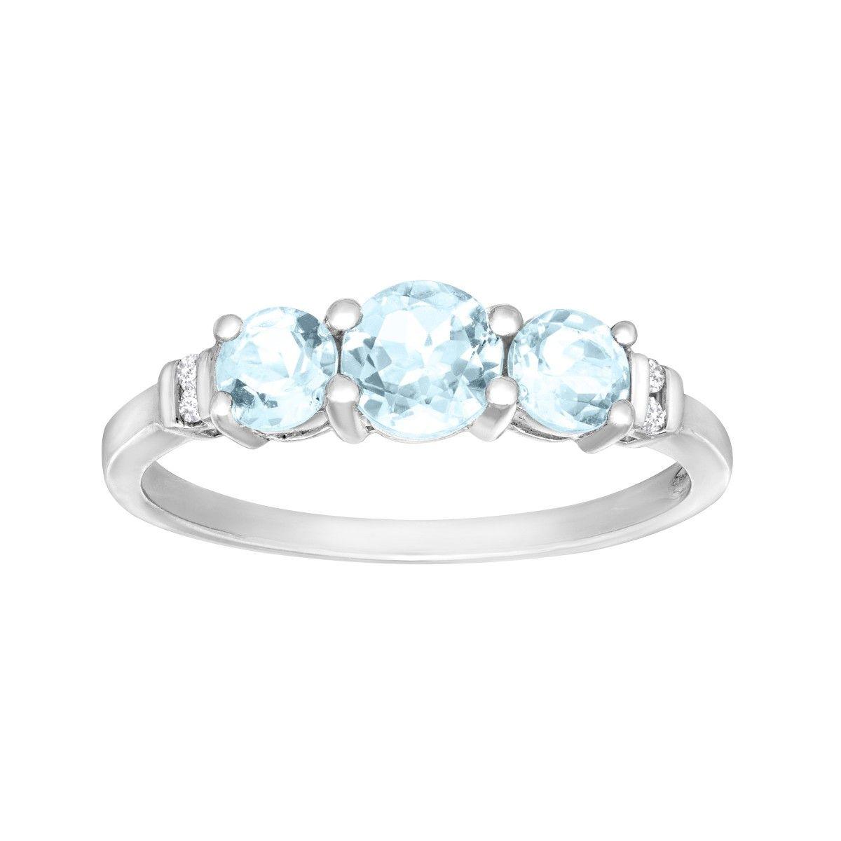7/8 ct Aquamarine Trio Ring with Diamonds