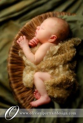 Newborn Brynns in the basket.  I love the different textures.