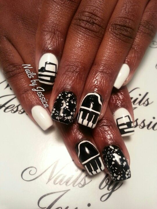 Music Notes Piano Nail Designs Nails By Jessica Pinterest