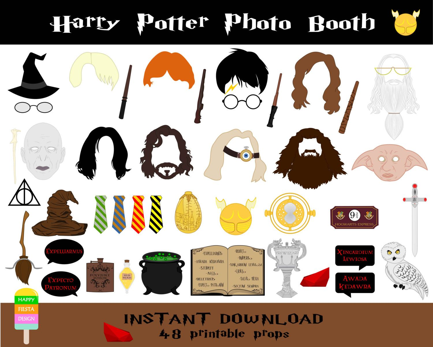 Printable airplane party backdrops party decorations diy template - Harry Potter Photo Booth Props 48 Pieces Printable Harry Potter Props Wizard Party