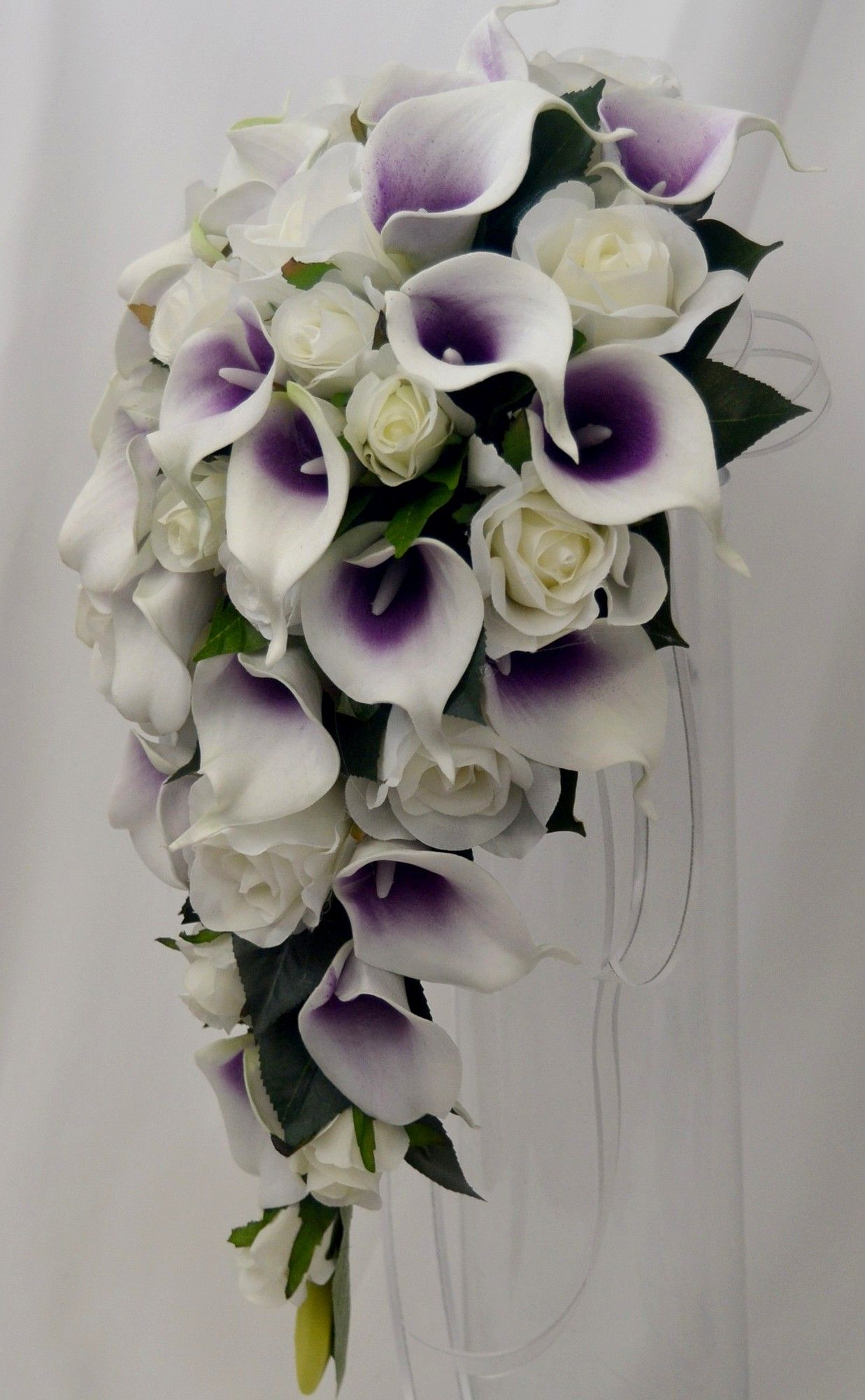Purplecallaliliesweddingflowers shades of purple ivory latex picasso calla lily cream rose teardrop bouquet dhlflorist Choice Image