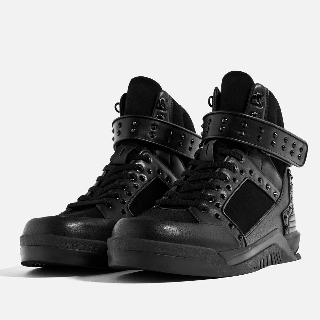 98c9236c348 Image 1 of BLACK STUDDED HIGH TOP SNEAKERS from Zara