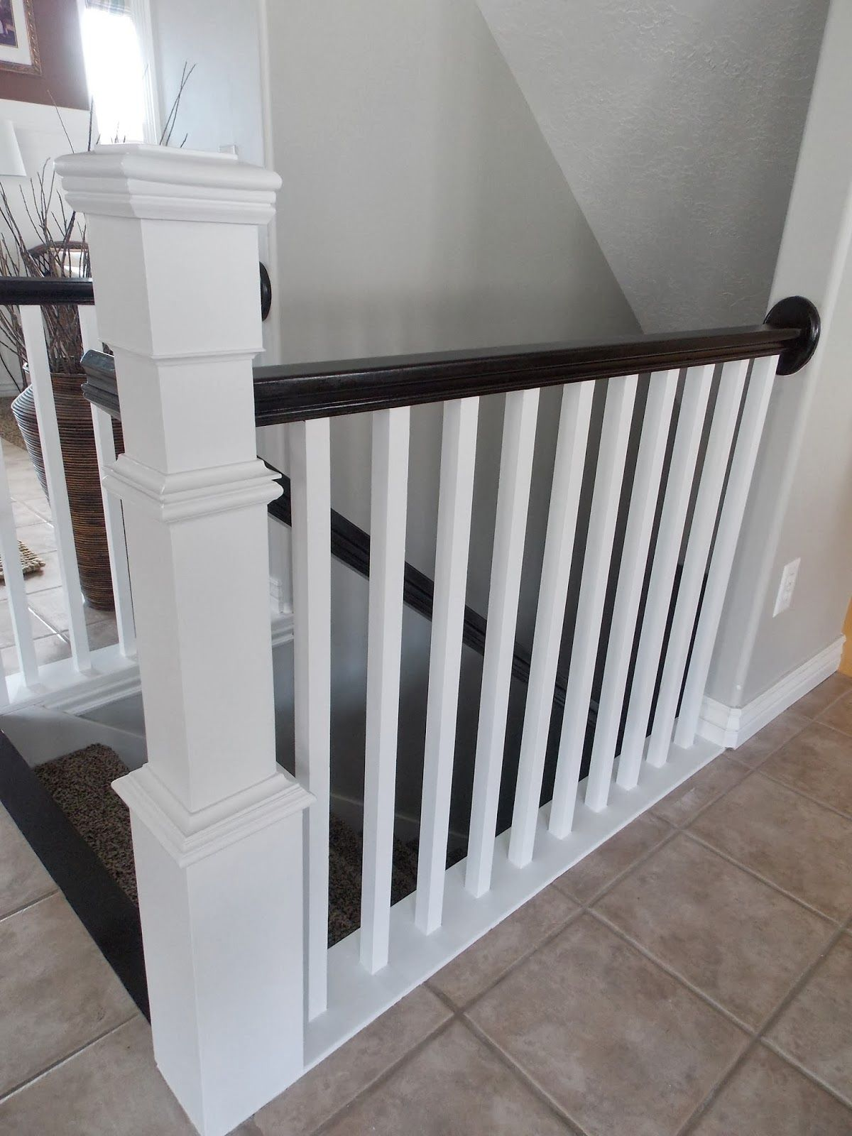 Stair Newel Post Built Around Builder Grade Banister   TDA Decorating And  Design Featured On