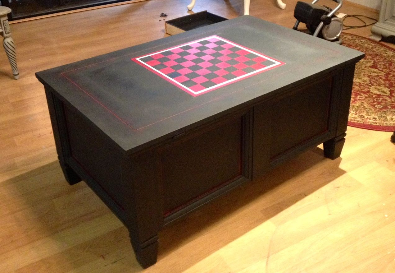Charmant Coffee Table, Game Table With Checkerboard Painted With Chalk Paint