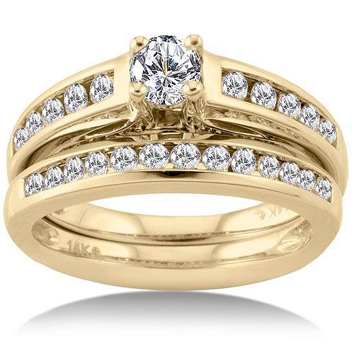 1 Carat Diamond Yellow Gold Bridal Set