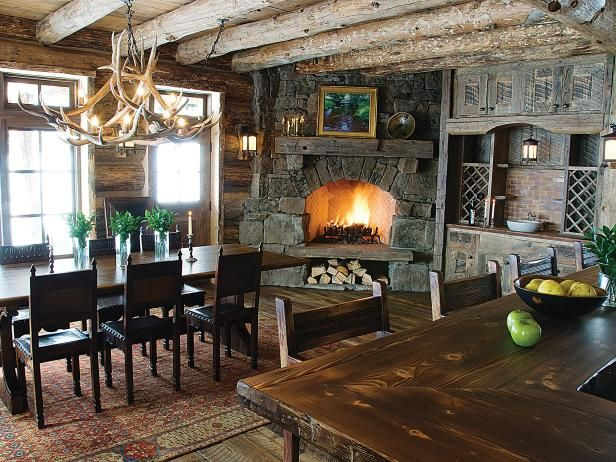 Room Rustic Dining With Fireplace