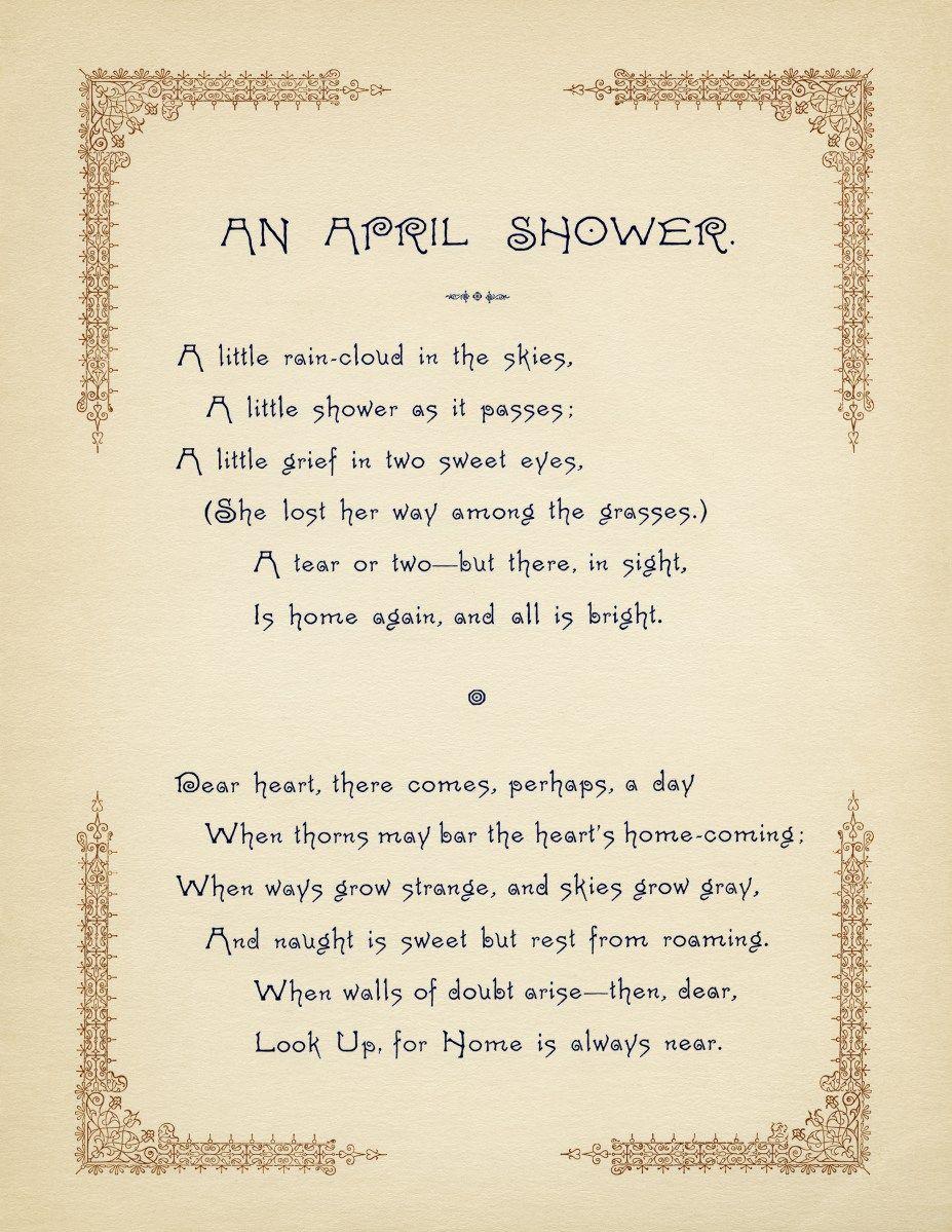 Free Vintage Image ~ An April Shower Poem | Old poetry