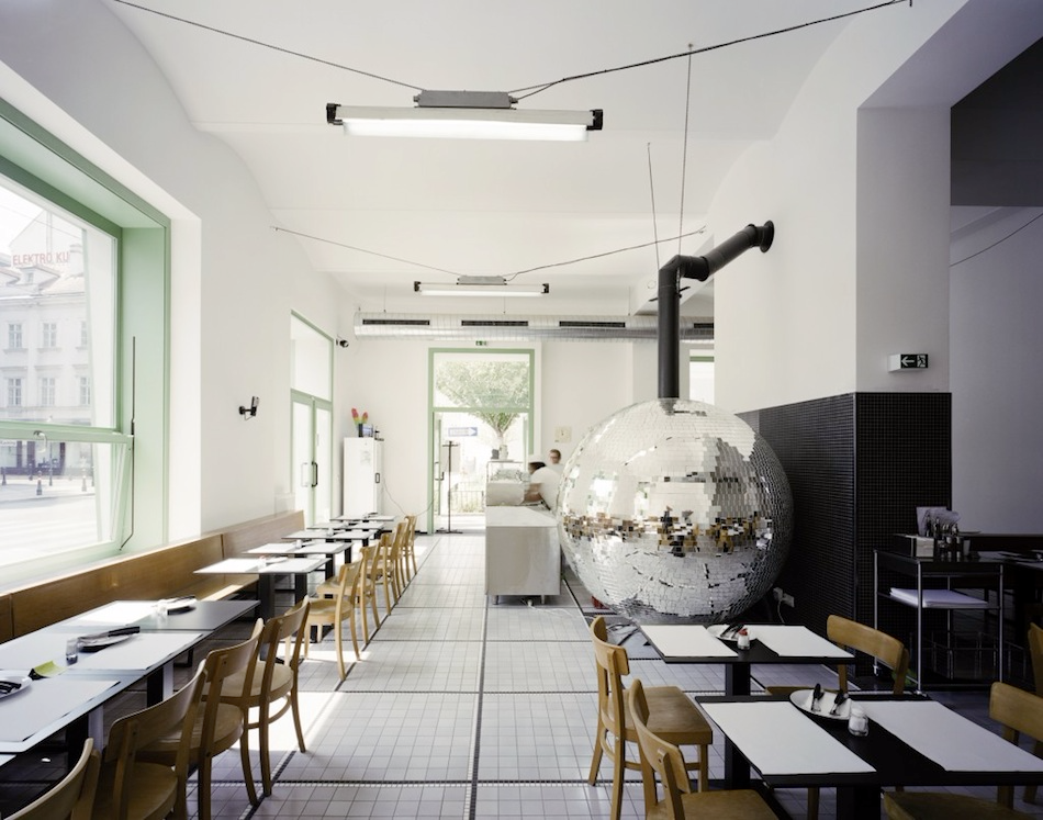 A Rotating Disco Ball Pizza Oven by Lukas Galehr Cafe