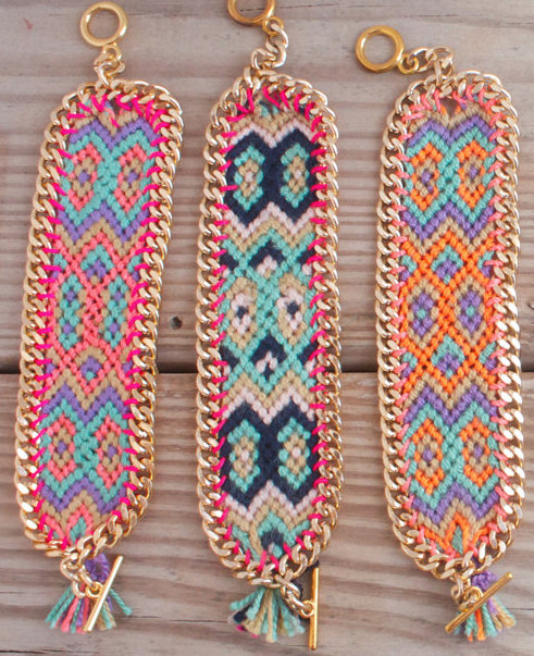 I am loving these friendship bracelets from BonkIbiza. Layer them with your everyday favorites to spice things up!