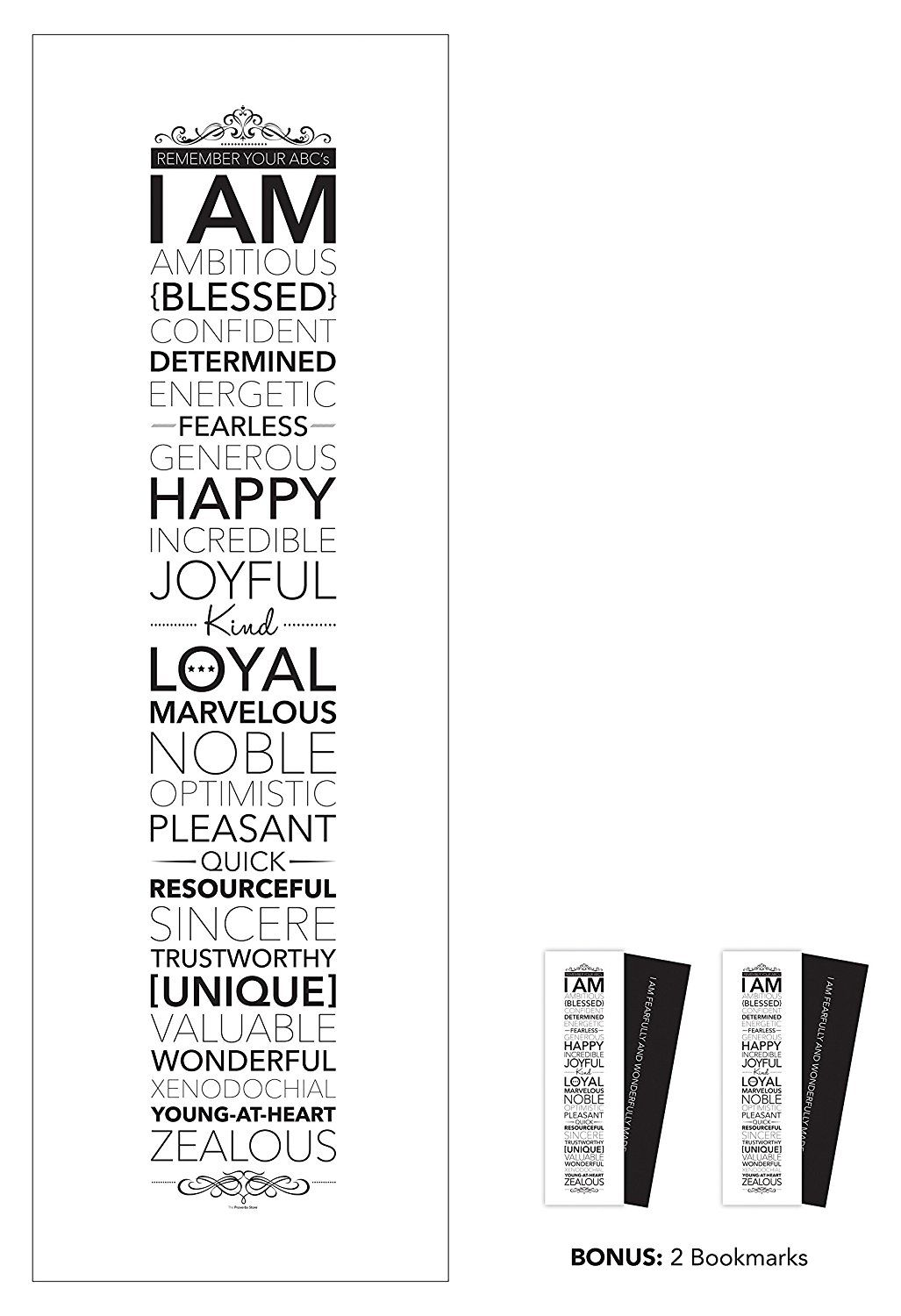 Amazonsmile I Am 12 X 36 Inches Large Motivational Inspirational Wall Art Poster Black And White Ty Inspirational Wall Art Frame Wall Decor Frames On Wall