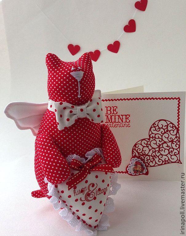Купить Кот Валентин с открыткой - ярко-красный, валентинка, подарок на день валентина, кот
