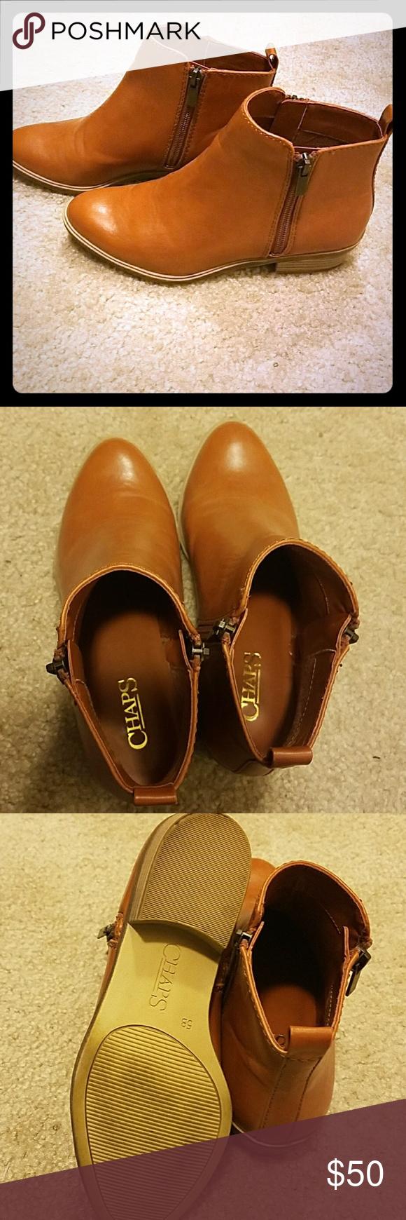 e467ce848e49a Chaps Sabra Zipper Ankle Boots Tan CalfSkin Women's Chaps Sabra Zipper  Ankle Boots Polo Tan Burn