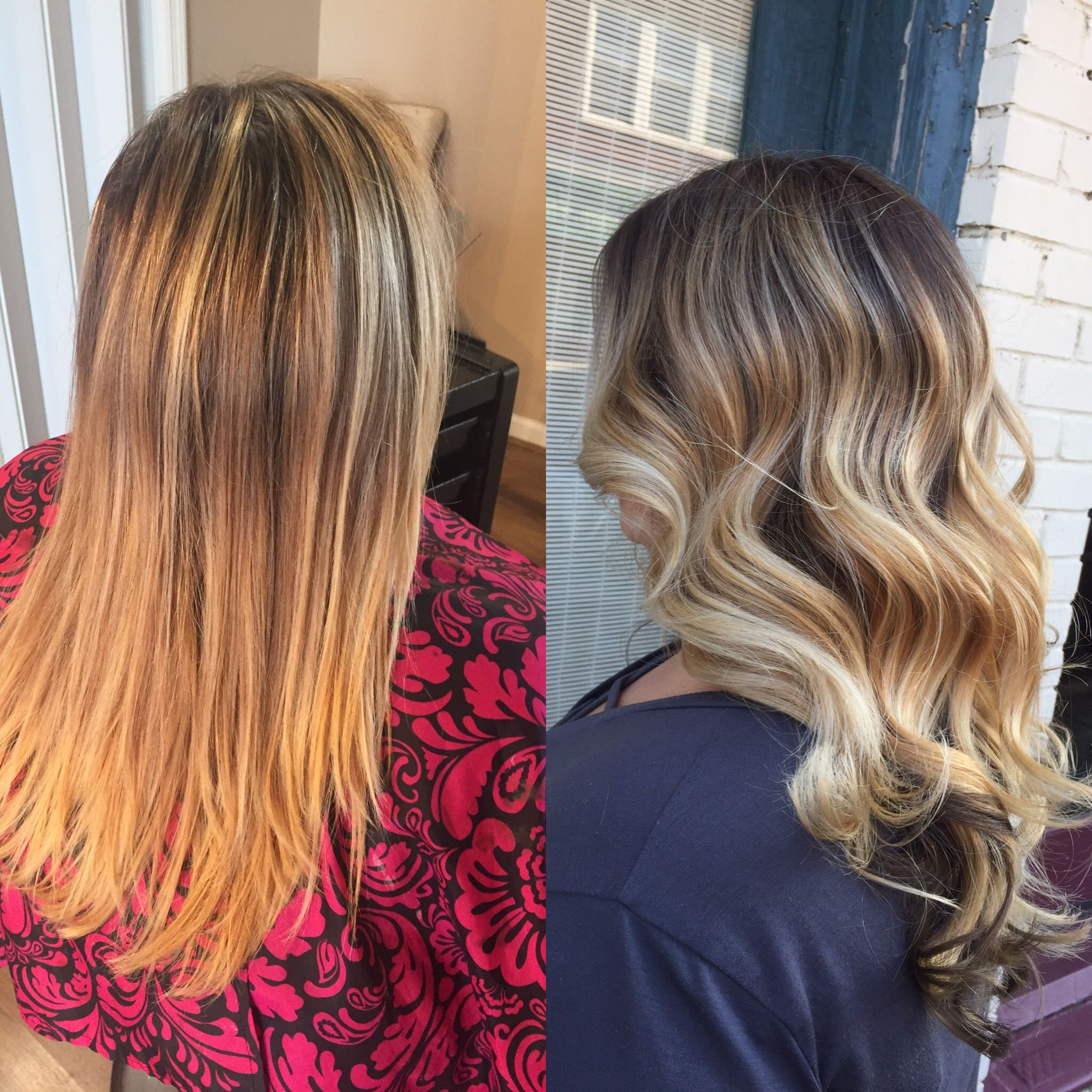 Before/after pic by me! Balayage blonde with dark ash base and dark underneath #balayage # ...