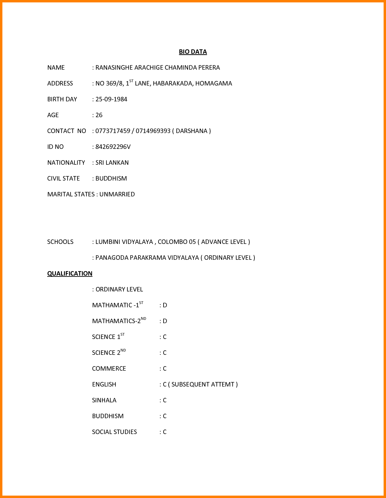 11 Job Application Letter Biodata Ledger Paper Job Application Sri