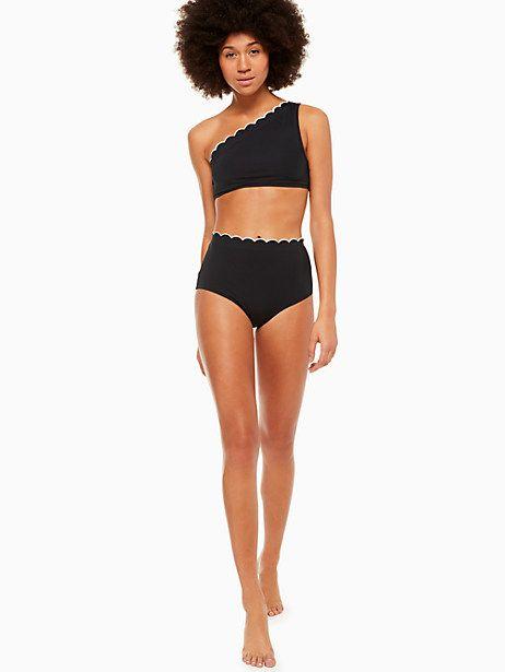 ee84e16943a Kate Spade Fort Tilden Contrast Scalloped High-waist Bikini Bottom ...