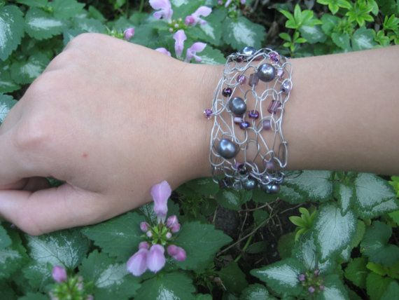 Black Pearl and Purple Bead Wire Knit Bracelet by Knitoriously, $25.00