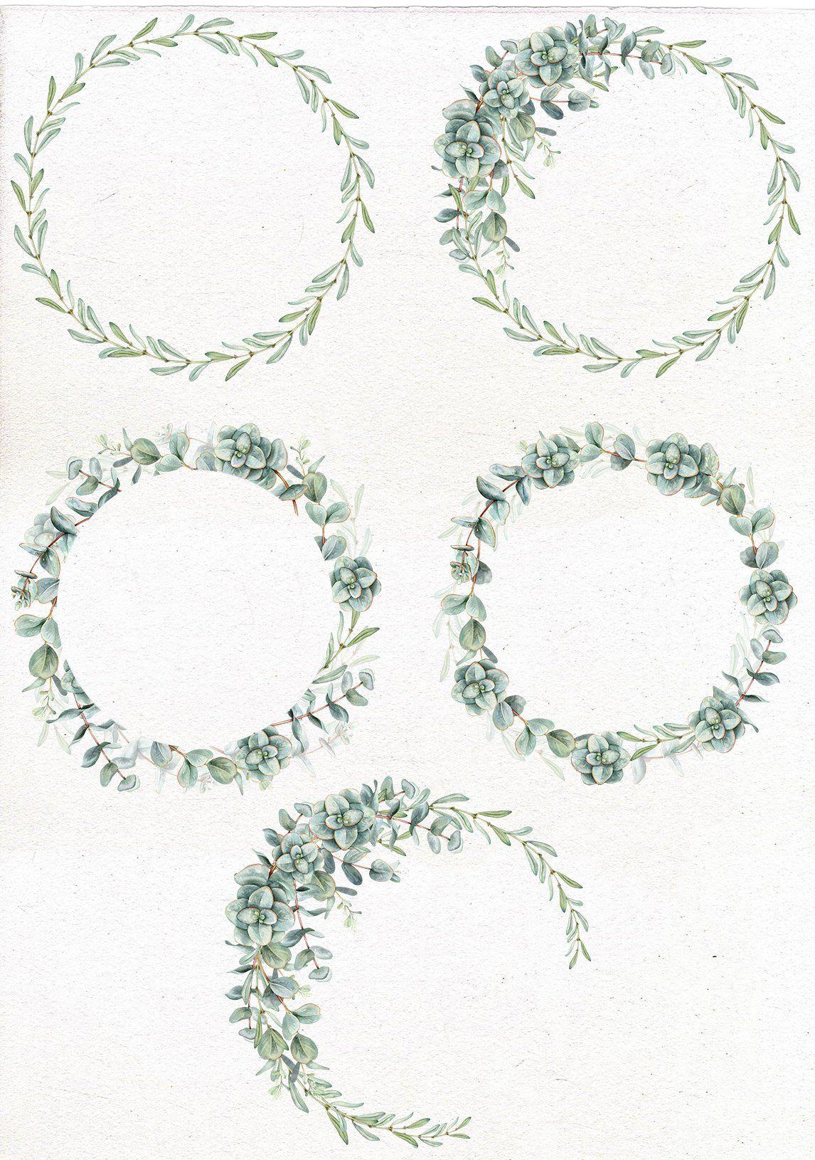 Photo of Watercolor eucalyptus wreath, frame. Greenery clip art, eucalyptus leaves, wedding watercolor greenery, DIY clipart.