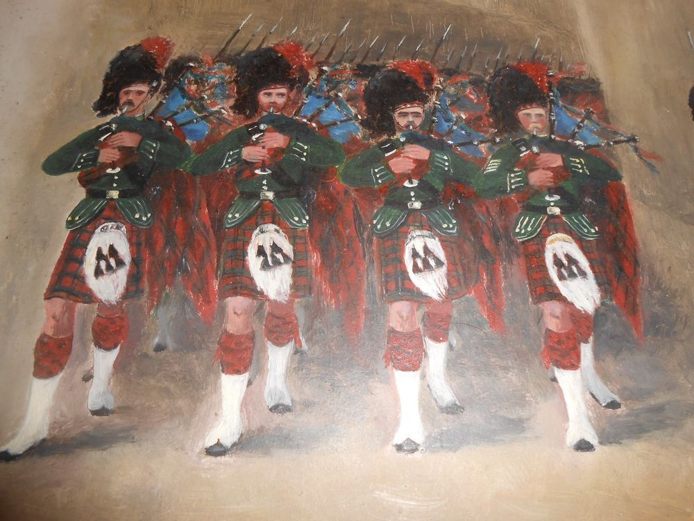 "Antique 19th century pair of oil paintings of Scottish pipers 10 x 14"" historica"
