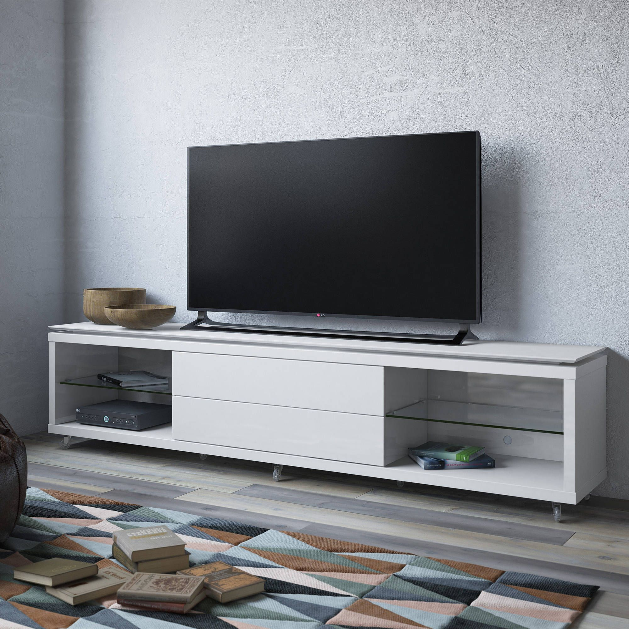 Lincoln 2 4 Contemporary White Gloss MDF Silicone Casters TV Stand