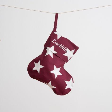 Von Hand gefertigte personalisierte Weihnachtsstrümpfe BIG STARS BURGUNDY   Klüngelkramshop