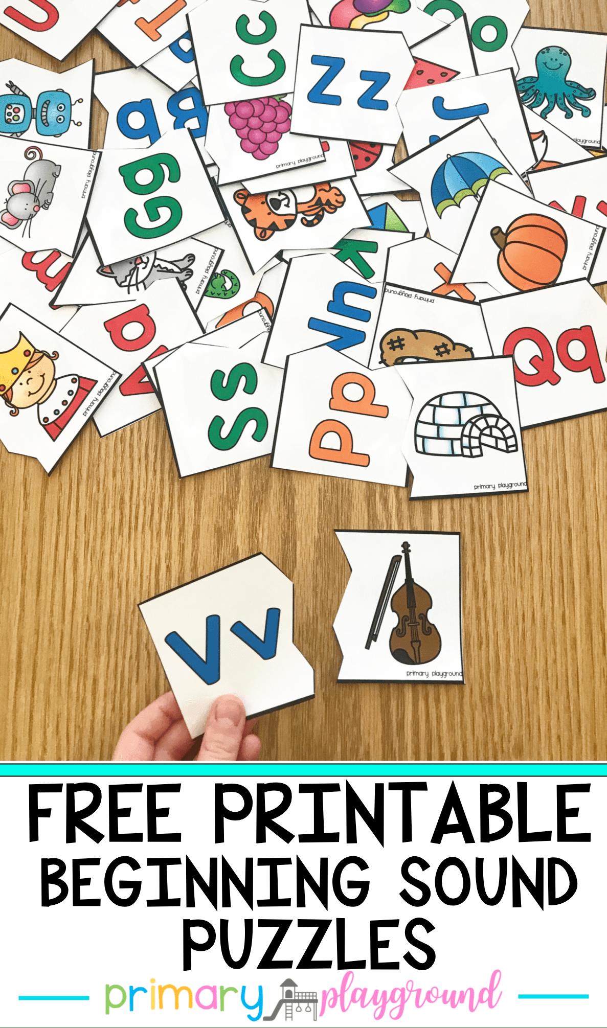 Free Printable Beginning Sound Puzzles Primary Playground Sound Puzzle Beginning Sounds Worksheets Beginning Sounds Kindergarten [ 2011 x 1187 Pixel ]