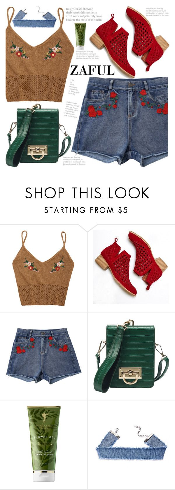 """""""Zaful"""" by fattie-zara ❤ liked on Polyvore featuring Jeffrey Campbell, RAHUA, tanktop, floralprint, summerboots, zaful and embroidred"""