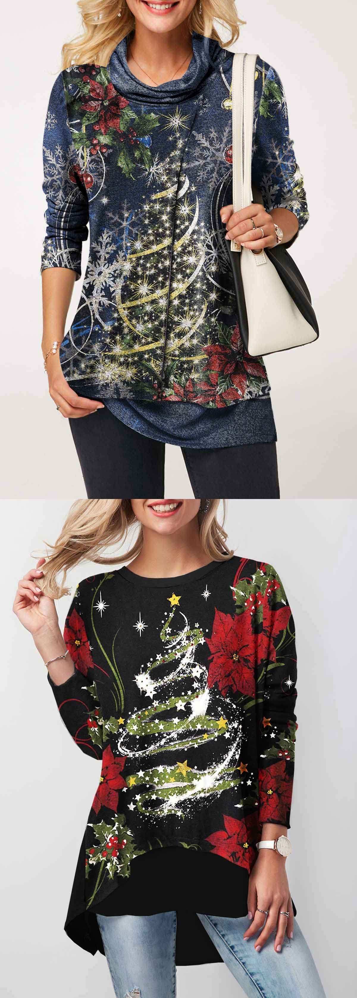 Ugly christmas long sleeve black button back printed top christmas