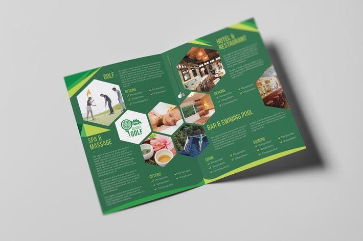 Golf Resort A5 Brochure Template By Wutip Art Design Inspiration