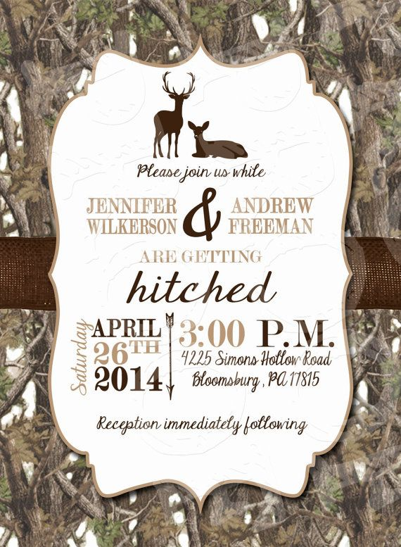 White Camo Deer Wedding Invitation and RSVP Card by