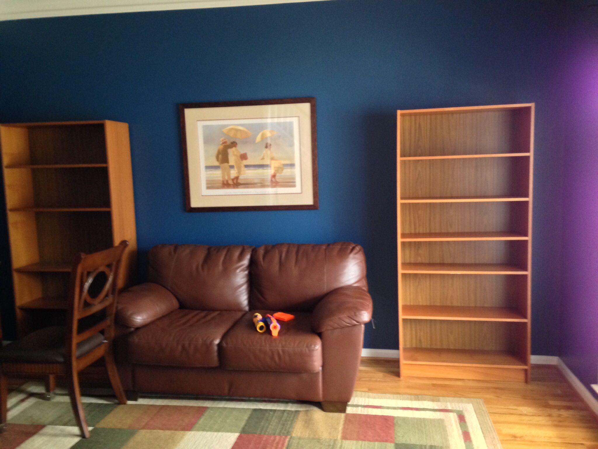 New paint and Craigslist teak bookcases. Bookcase, Home