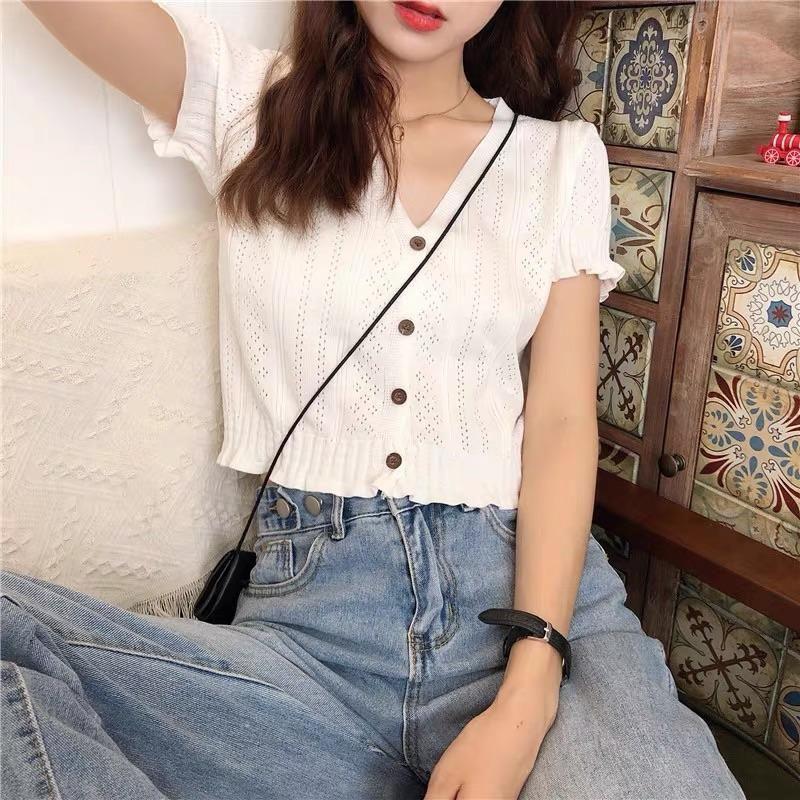 Photo of Korean fashion v-collar hollow knit shirt by31603