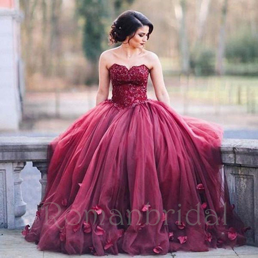 Boat neck lace wedding dress october 2018 Charming Aline charming long puffy burgundy prom dress Red Wedding