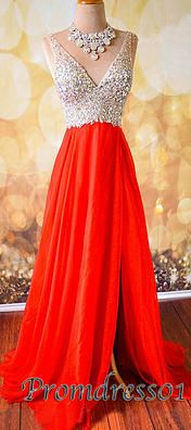 2015 cute v-neck side slit coral chiffon long prom dress for teens, a elegant ball gown you'd love to have. It's available on #promdress01 www.promdress01.com