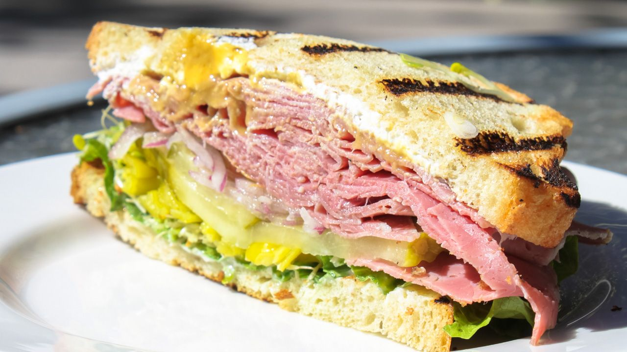 Delicious pastrami sandwich from the Woodlands Kitchen!