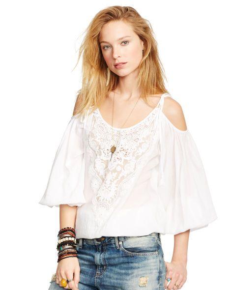 Boho Gauze Open-Shoulder Top - Denim & Supply  Shirts - RalphLauren.com