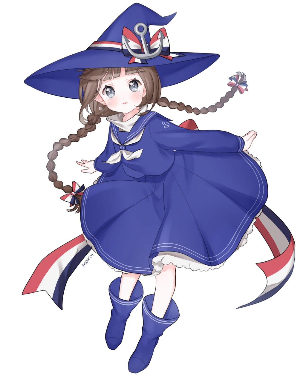 Anime Picture Search Engine 1girl Anchor Blue Eyes Bow Braid Brown Hair Crying Crying With Eyes Open Hair Bow Hat Hat Bow Highre Blue Sea Sailor Dress Anime