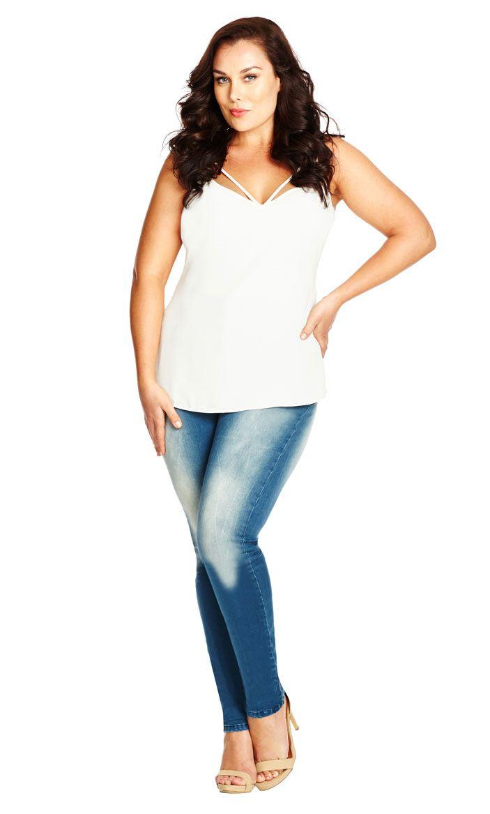City chic hourglass skinny jeans short lightwash womenus plus