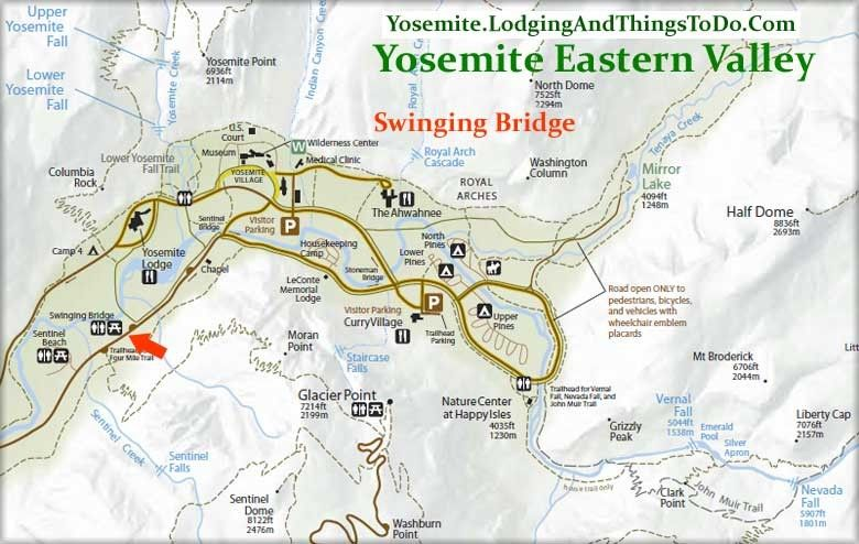 Swinging Bridge - Yosemite Valley Picnic and Swimming Area ...