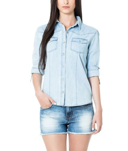ELLUS - SHIRT DENIM MARTINGALE ML   Camisas   2ndFloor Mulheres