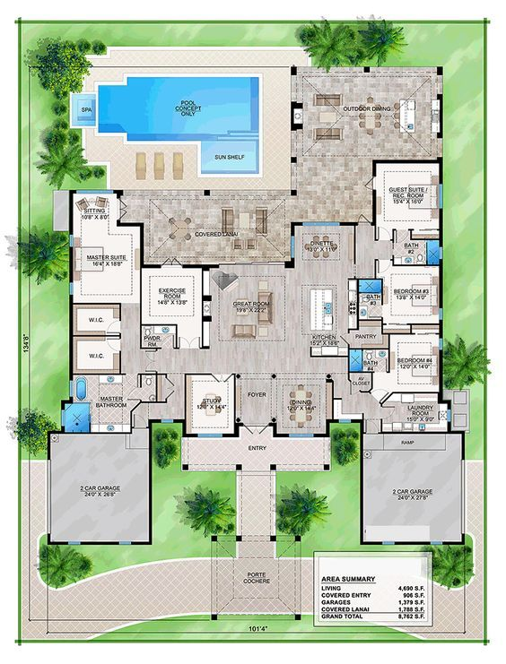 Southern Style House Plan 52940 With 4 Bed 5 Bath 4 Car Garage Florida House Plans Mediterranean Style House Plans One Floor House Plans