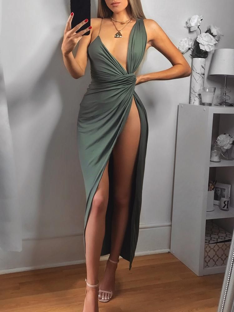 a3400a28749c21 Ruched Deep V High Slit Irregular Maxi Dress