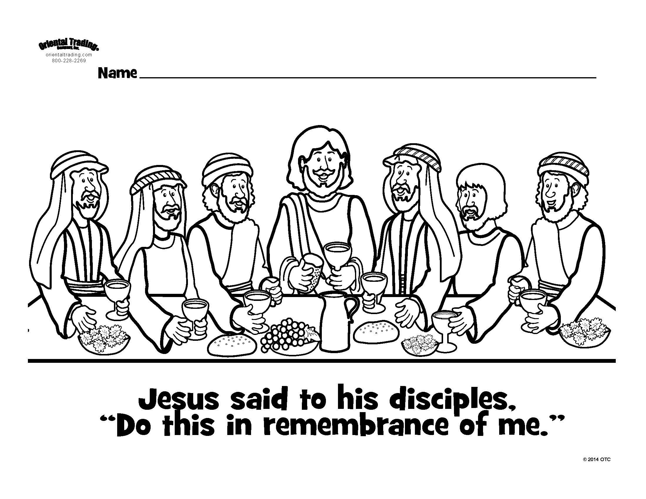 Last Supper Colouring Page Sunday School Kids Sunday School
