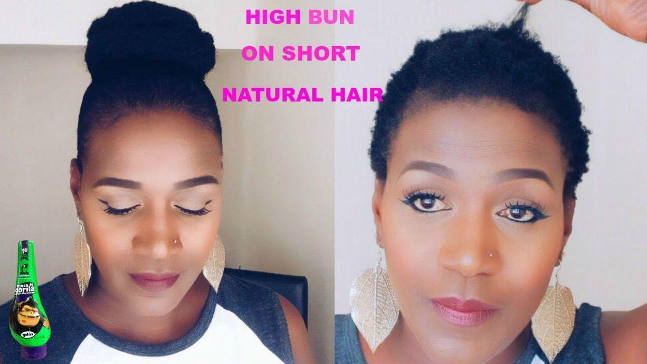 Sleek Bun On Short Natural Hair Using Gorilla Snot Gel