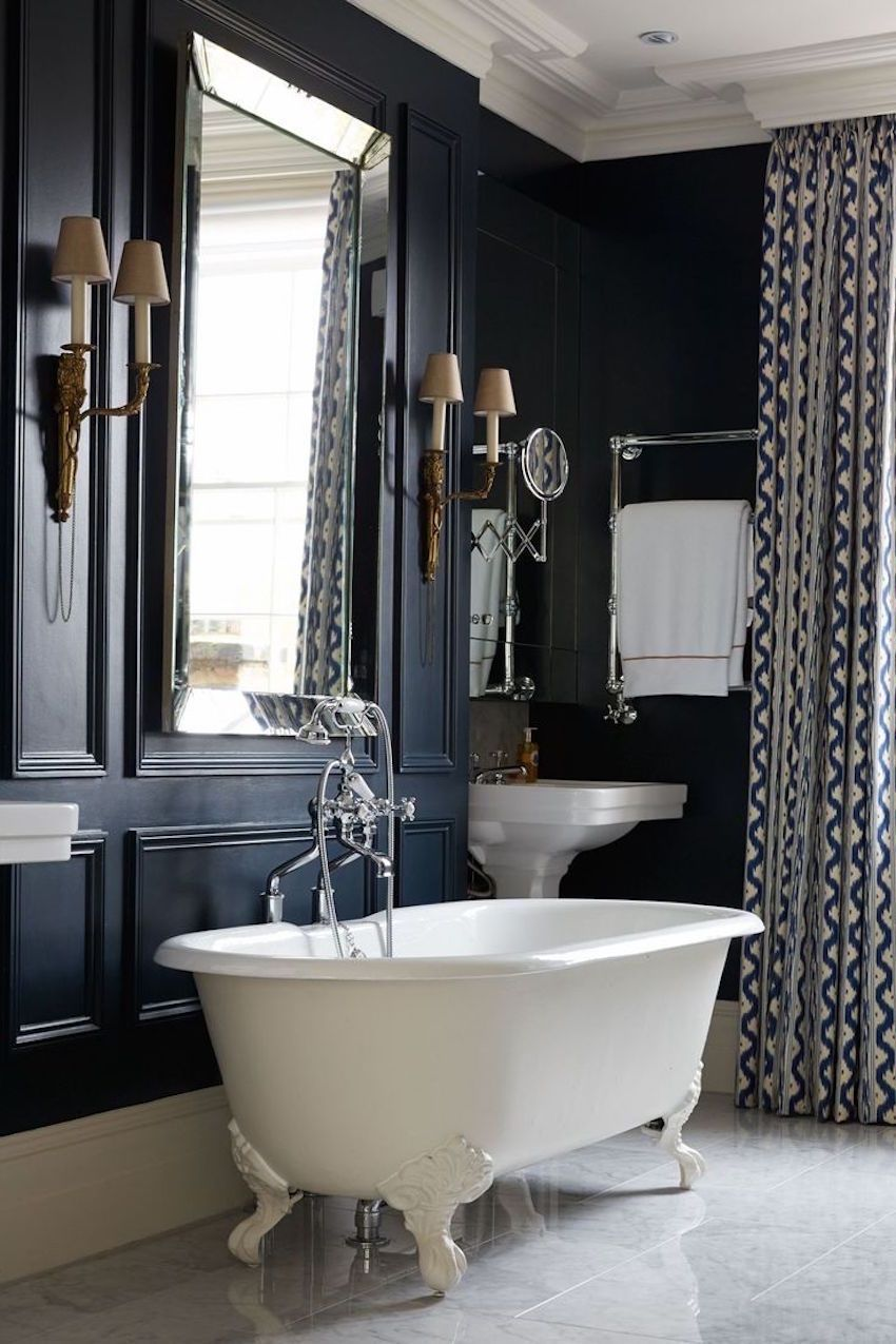 Stunning And Elegant The Rich Dark Color On Wall Is Regal In Every Way Luxury Bathroom Mirror