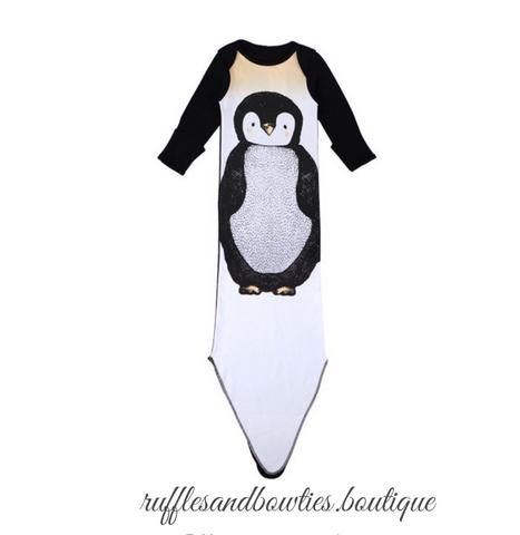 6e93136afd83d Happy Feet Penguin Winter Infant Knotted Tie Swaddle Sleep Sack Gown ...