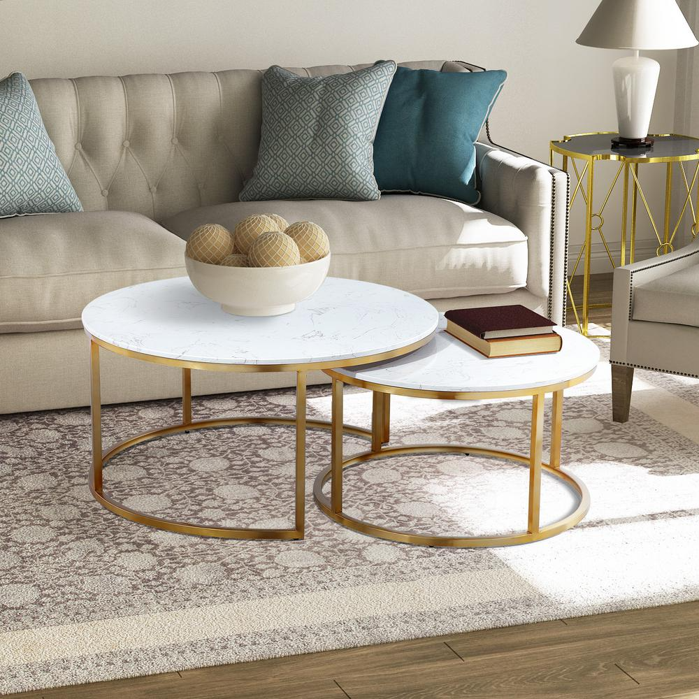 Boyel Living 2 Piece 36 In Gold White Medium Round Marble Coffee Table Set With Nesting Tables Wf M Ct 1314c D The Home Depot Coffee Table Marble Round Coffee Table Marble Top Coffee Table [ 1000 x 1000 Pixel ]